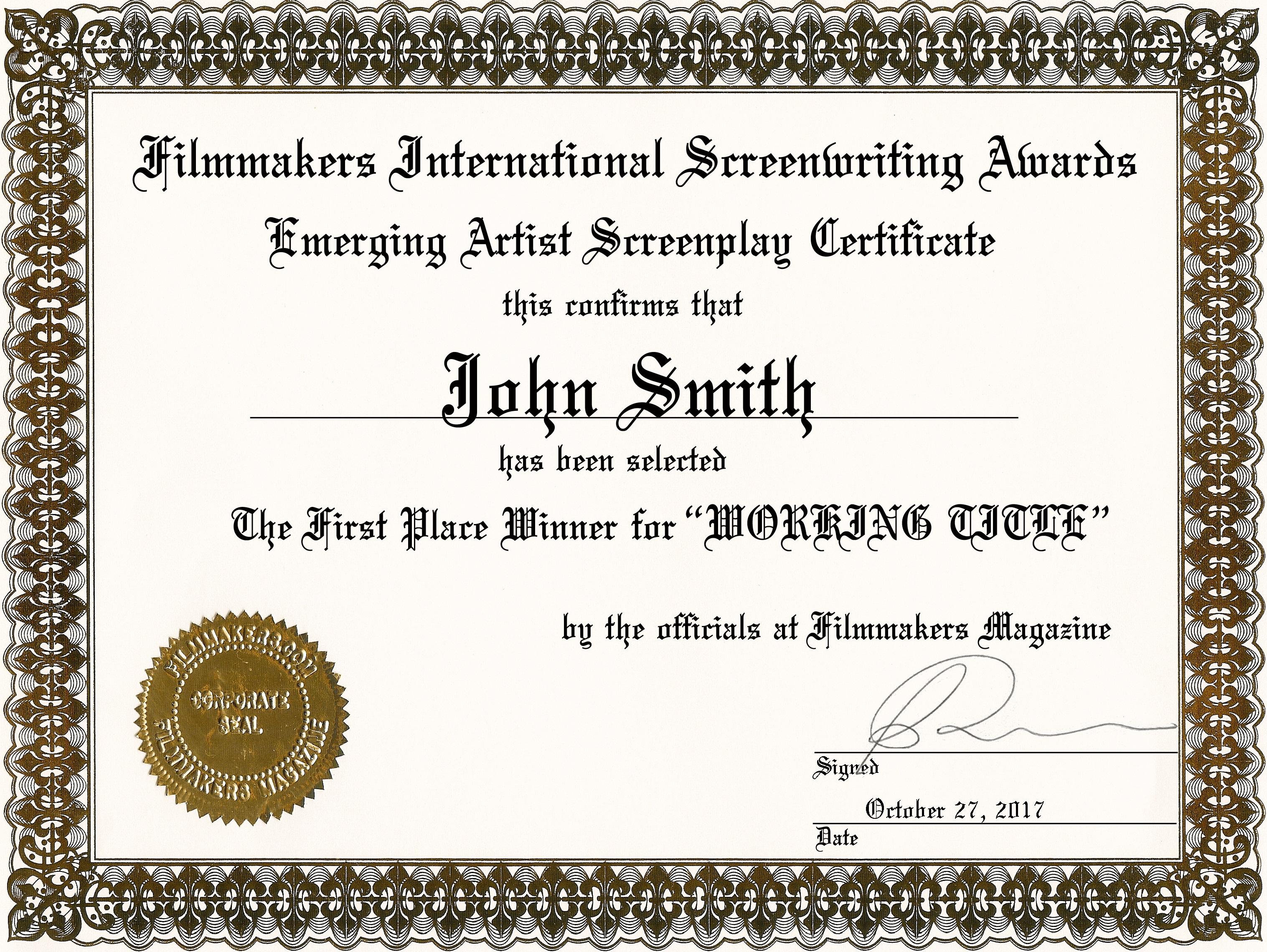 International Screenwriting Awards | Filmmakers Home